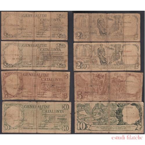Catalunya Generalitat Emisión completa billetes 1936 - 2.50, 2.50, 5 y 10 ptas
