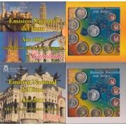 España Spain 2011 2 Carteras Oficiales Euros € Serie Autonomías Cataluña y Ceuta  + 2€ con. Granada Alhambra.... + 2 medallas plata escudo