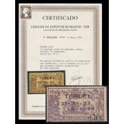 España Spain NE 32 1938 No emitidos No Expendidos Teruel Certificado CEM  MNH