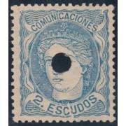 España Spain Telégrafos 112T Variedad 1870 Efigie Alegoría de España