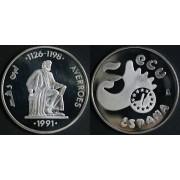 España Spain Moneda  Ecu 1991 Averroes 5 Ecus plata