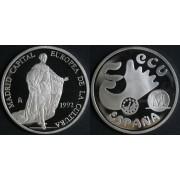 España Spain Moneda 1992 Carlos III Madrid Capital Europea 5 ecus plata