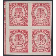 España Spain NE 30s Bl. 4 1938 No Emitidos No Expendidos Cifras MNH