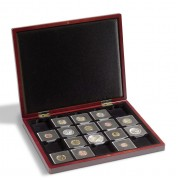 Leuchtturm Estuche de madera para monedas con 30 divisiones esquinadas 50x50 mm