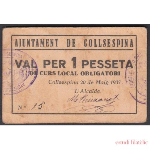 Billete local 1937 Ajuntament de Collsespina 1 pta