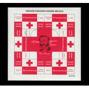 España Spain Minipliego 90 2013 Cruz Roja Red Cross Conjunta España Bélgica
