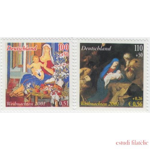 España Spain Emisión conjunta 2001 Alemania-España Navidad MNH