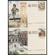 España Spain Entero Postal ( tarjeta ) 143/44 1987 Turismo Málaga Santander