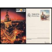 España Spain Entero Postal ( tarjeta ) 154 1992 Expo 92 Giralda Coche caballos Horse