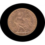 Francia France 20 francos franceses 1908 Moneda Oro gold  Au
