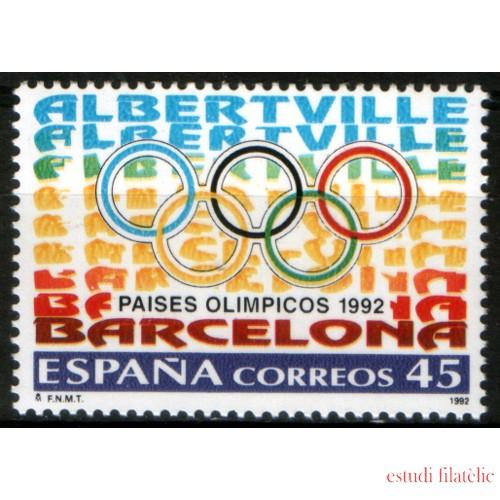 España Spain Emisión conjunta 1992 España-Francia Paises Olímpicos  MNH