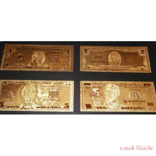 Billetes Bañados en Oro 24k United States Estados Unidos de 1$ a 100$