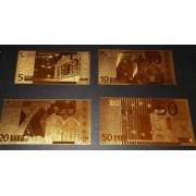 Billetes Bañados en Oro 24k European Unión Unión Europea de 5€ a 500€