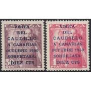 España Spain 1088/89 1951 Visita Caudillo a Canarias MNH