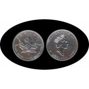 Canadá Canada Onza de plata 5 $ 1991 Maple Leaf Elisabeth II