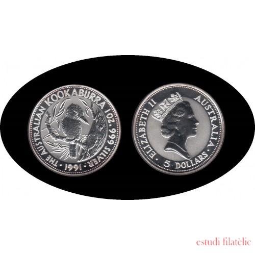 Australia Kookaburra 1991 1 onza de plata 5$ 999 Ag