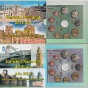 España Spain 2014 2 Carteras Oficiales Euros € Serie Autonomías Extremadura y Galicia + 2 mod. 2€ com. Parke Güell + 2 medallas plata escudo
