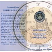 España Spain 2014 Cartera Oficial Moneda 2€ euros conmemorativos Proof Patriomio  Gaudí Parque Güell FNMT