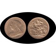 Gran Bretaña Great Britain Sovereign Soberano Libra inglesa 1898 Victoria oro Au