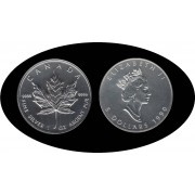 Canadá Canada Onza de plata 5 $ 1990 Maple Leaf Elisabeth II