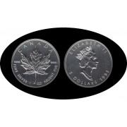 Canadá Canada Onza de plata 5 $ 1993 Maple Leaf Elisabeth II