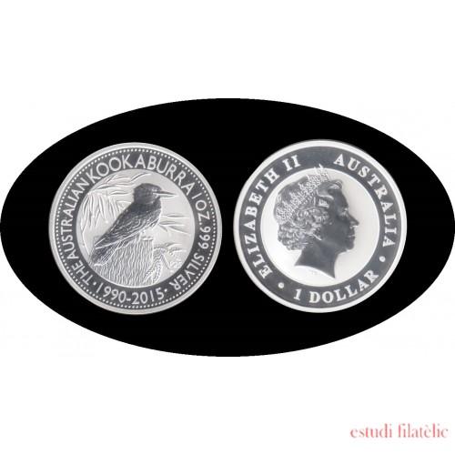 Australia Kookaburra 1990/2015 1 onza de plata 1$ 999 Ag