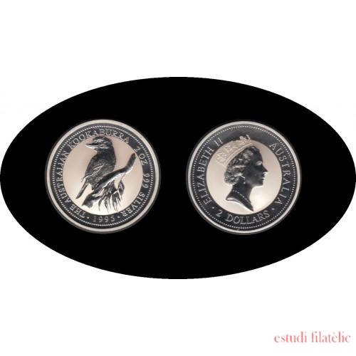 Australia Kookaburra 1995 2 onzas de plata 2$ 999 Ag