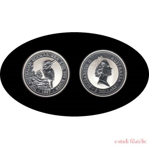 Australia Kookaburra 1997  2 onzas de plata 2$ 999 Ag