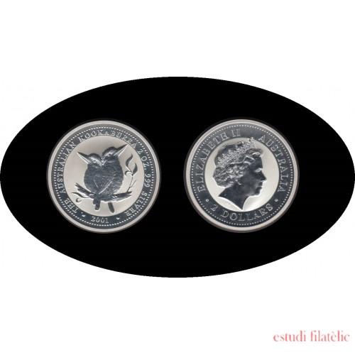 Australia Kookaburra 2001 2 onzas de plata 2$ 999 Ag