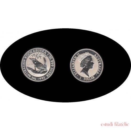 Australia Kookaburra 1992 1 onza de plata 1$ 999 Ag