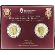 España  2 euros conmemorativos  2014 Felipe VI Juan Carlos Cartera