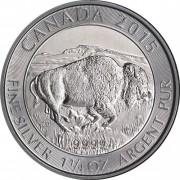 Canada 2015 Moneda de plata 8 $ 1  1/4 Oz Búffalo  Plata Proof