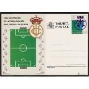 España Spain Entero Postal ( tarjeta ) 153 1991 75 Aniv. Real Unión Club Irún Fútbol fotball