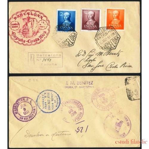 COL España Carta Barcelona a Costa Rica  1951  Nº 1092-1094-1095