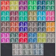 España Serie Básica 1982/1990 uan Carlos I  Fósforo Fosforescente 27 valores bloque de 4