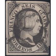 España Spain Variedad 6p 1851 Isabel II Papel Grueso