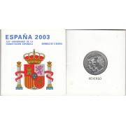 España Spain  2003 Cartera Oficial Moneda 12€ Euros  Aniv. Constitución  Plata FNMT