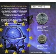 España Spain 2007 Cartera Oficial Moneda 12€ euros Plata + 2€  Tratado de Roma FNMT