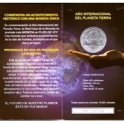 España Spain 2008 Cartera Oficial Moneda 12€ euros Año Intern. Planeta Tierra Plata FNMT