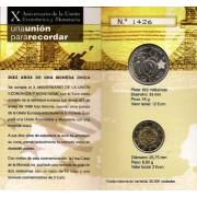 España Spain 2009 Cartera Oficial Moneda 12€ euros Plata + 2€ 10 Anv. Unión Europea y Monetaria EMU FNMT