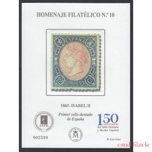España Spain Homenaje Filatélico 10 2015 Isabel II Aniv. del sello dentado