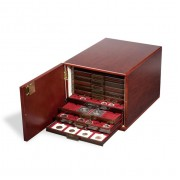 Leuchtturm Gabinete de monedas para 10 bandejas de monedas estándar, Acaobado (mate seda)