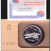 España Spain 1997  Estuche Euros conmemorativos Aviación  Moneda 5€ plata FNMT
