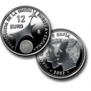 España Spain Monedas Euros conmemorativos Presidencia Unión Europea 2002 12euros plata
