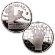 España Spain Monedas Euros conmemorativos 2002 Fútbol 10 euros plata portero Plata