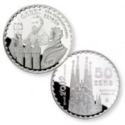 España Spain monedas Euros conmemorativos de 2002 Gaudí 50 euros plata Sagrada Familia