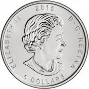 Monedas Canada 5$  Buho  2015  Plata BU