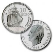 España Spain monedas Euros conmemorativos de 2003 Buque Escuela Juan Sebastian Elcano 10 euros Plata