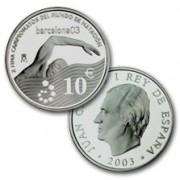 España Spain monedas Euros conmemorativos de 2003 Campeonatos del Mundo de Natación 10 euros Plata
