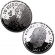España Spain monedas Euros conmemorativos 2004 Ampliación Unión Europea 10 euros Plata